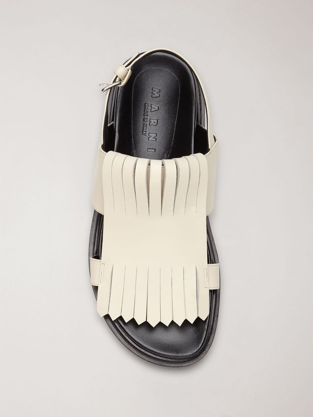 Marni Fringed fussbett in calfskin white Woman - 4