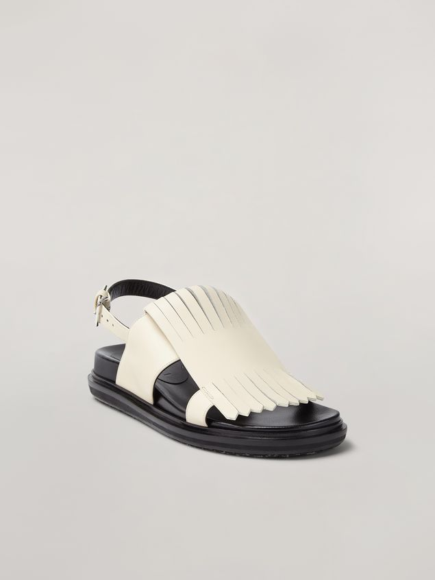 Marni Fringed fussbett in calfskin white Woman - 2