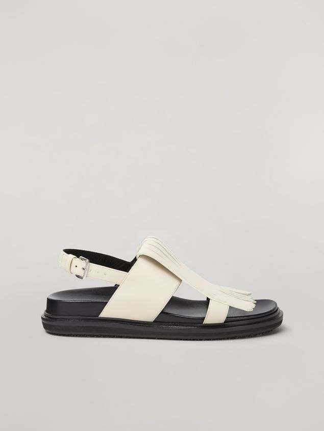 Marni Fringed fussbett in calfskin white Woman - 1