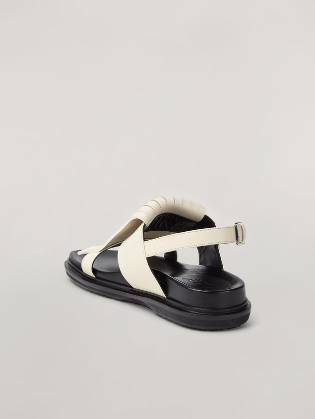 Marni Fringed fussbett in calfskin white Woman - 3