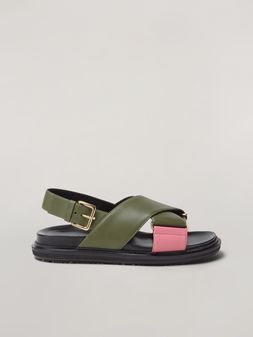 Marni Criss-cross fussbett in calfskin green and pink Woman