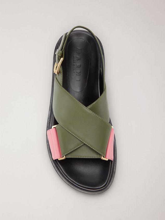 Marni Criss-cross fussbett in calfskin green and pink Woman - 4