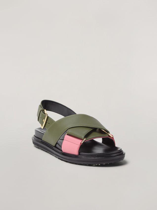 Marni Criss-cross fussbett in calfskin green and pink Woman - 2