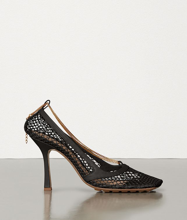 BOTTEGA VENETA STRETCH PUMPS IN MESH AND BERRY CALF Pump Woman fp