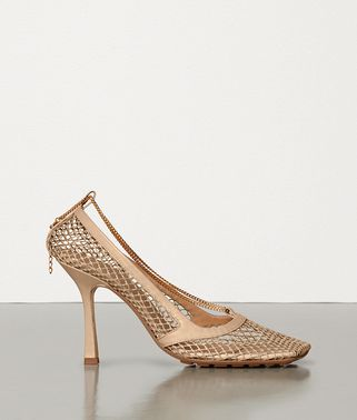 STRETCH PUMPS IN MESH AND BERRY CALFSKIN