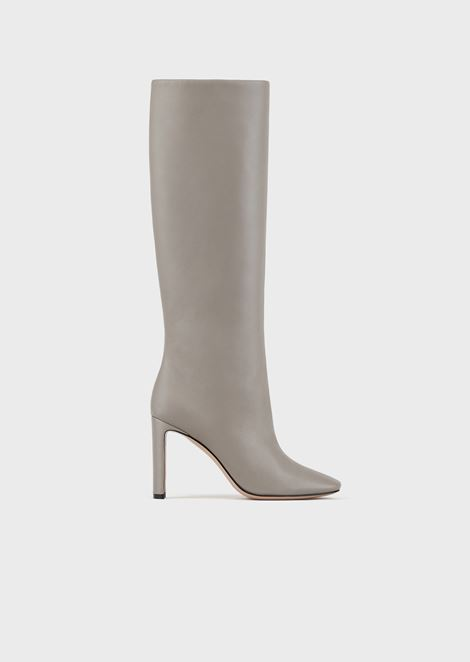 High-heeled boots in nappa leather with half-crescent heel
