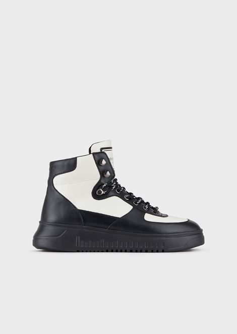 High-top nappa leather sneakers