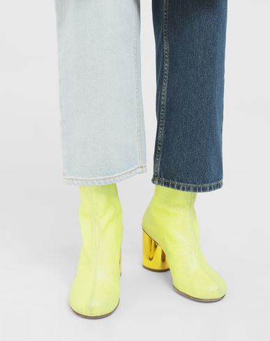 SHOES Glitter crushed heel ankle boots Yellow