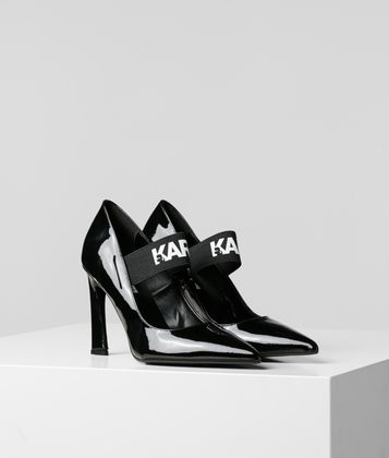 KARL LAGERFELD VENETO COURT HIGH HEEL PUMPS MIT LOGORIEMEN