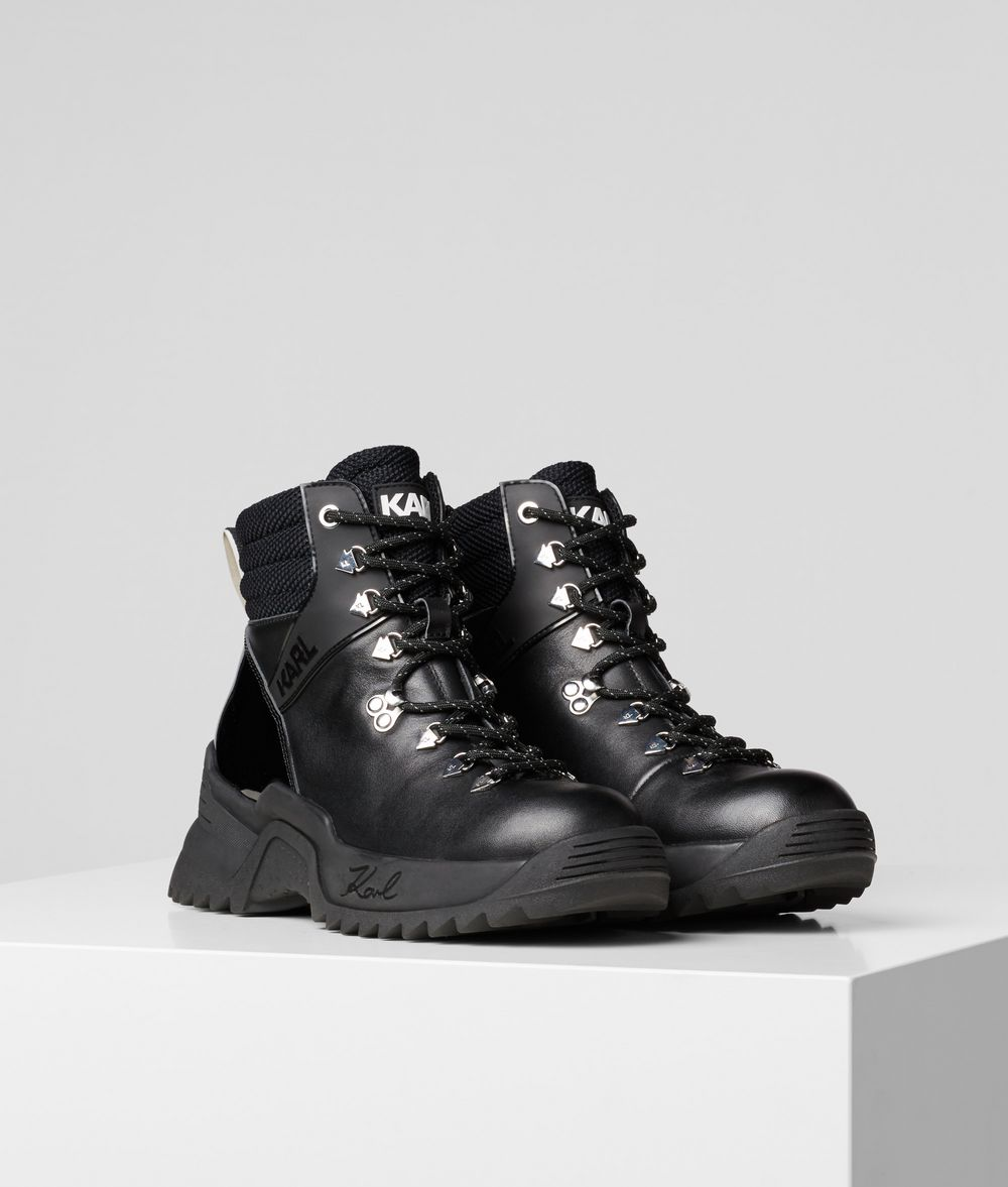 KARL LAGERFELD Quest Cross Lace-Up Boots Sneakers Woman f