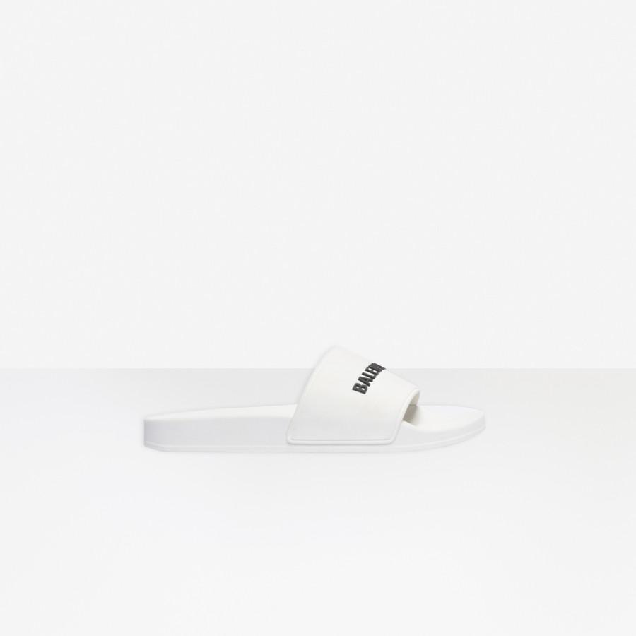 Pool Slide WHITE BLACK for Men | Balenciaga