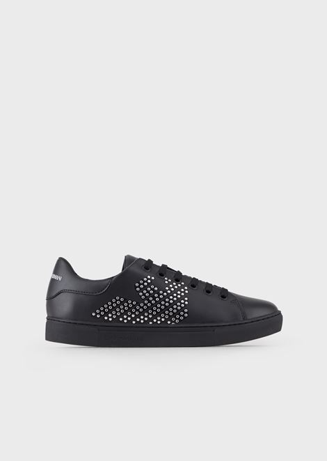 Sneakers en cuir avec application de clous