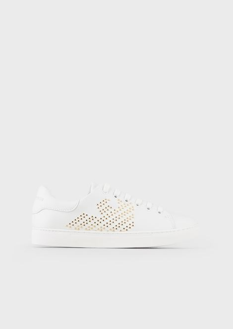 Leather sneakers with appliqué studs