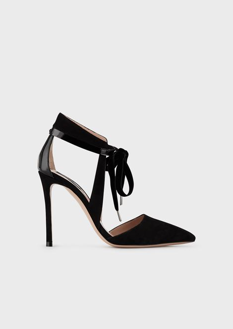 Suede court shoes with mirror strap