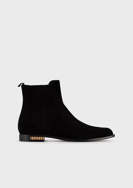 Suede Beatle boots with pleated metal inserts