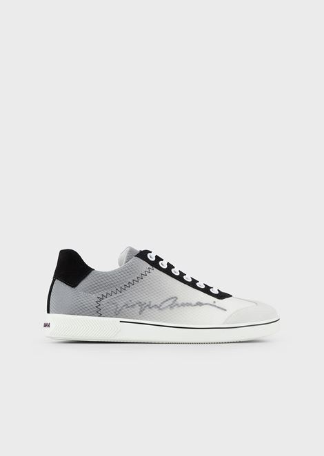 Sneakers with gradient mesh and satin