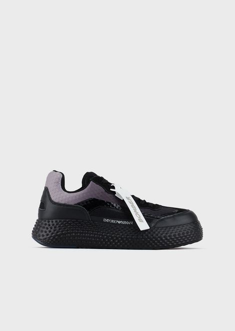 Sneakers in leather and nubuck with mesh inserts