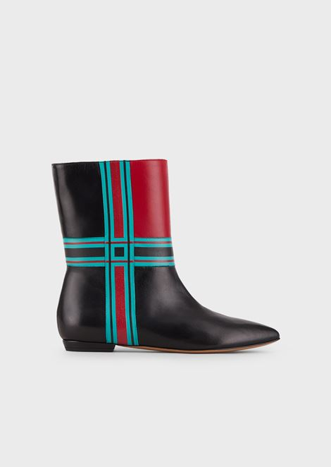 Cherie nappa leather booties with Madras print