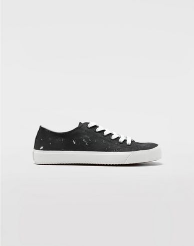SHOES Tabi Craquelé leather sneakers Black