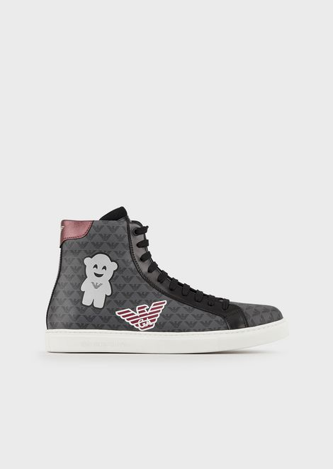 Manga Bear high-top sneakers with all-over monogram
