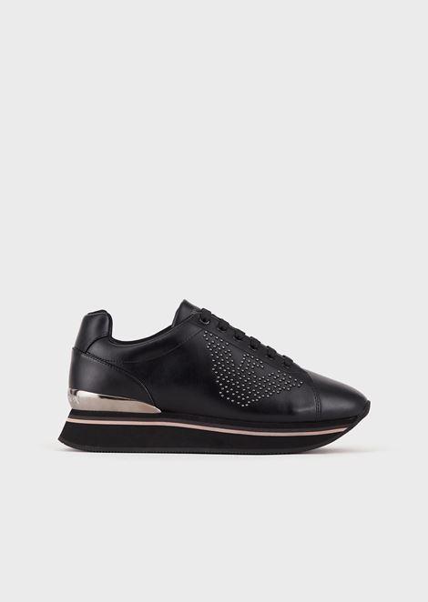 鹰形铆钉皮革运动鞋