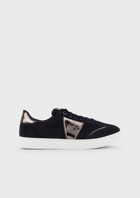 Suede sneakers with mirrored details