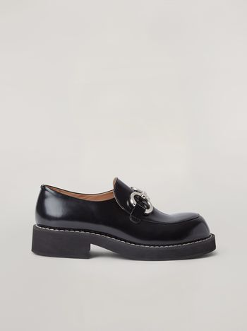 Marni Moccasin in shiny calfskin with metal accessory Man f