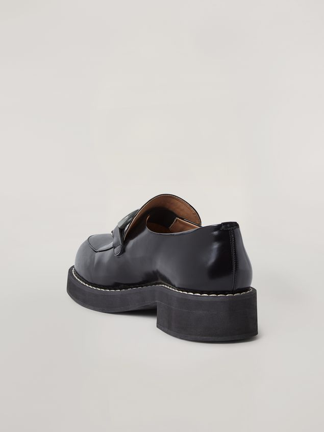 Marni Moccasin in shiny calfskin with metal accessory Man