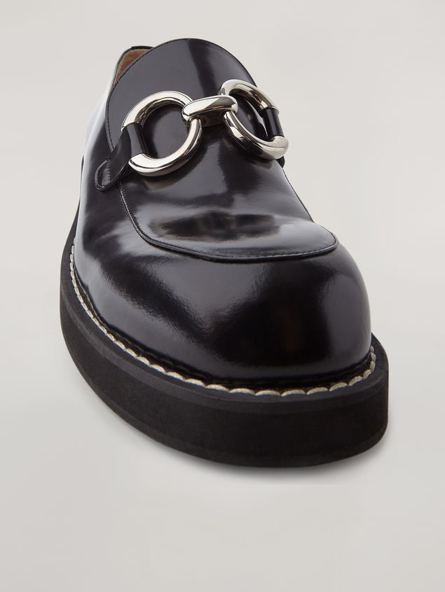 Marni Moccasin in shiny calfskin with metal accessory Man - 5