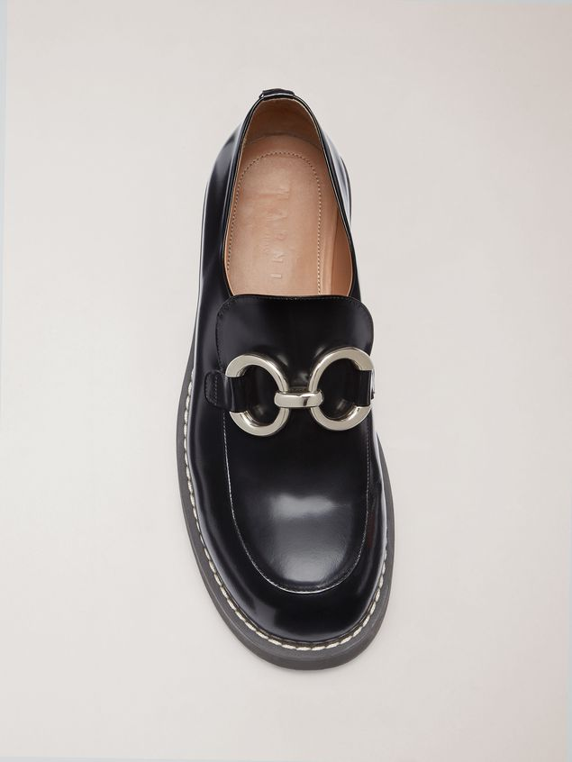 Marni Moccasin in shiny calfskin with metal accessory Man - 4