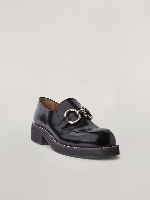 Marni Moccasin in shiny calfskin with metal accessory Man - 2