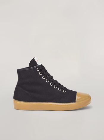 Marni Zapatillas de caña alta de lona de algodón negras Hombre f