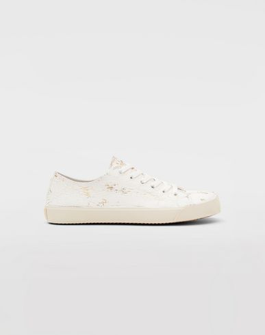 SHOES Tabi Craquelé leather sneakers White