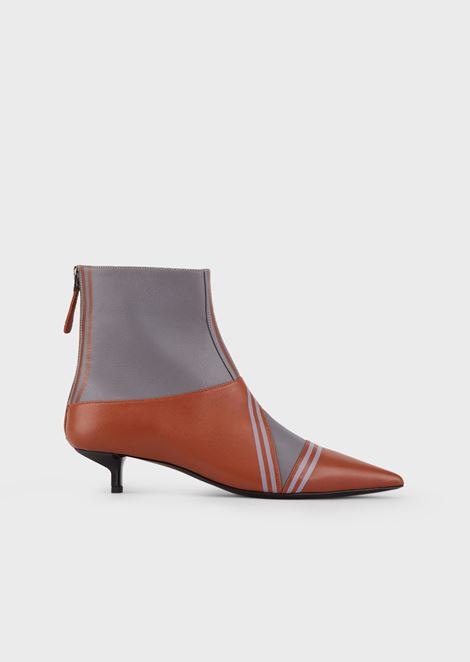 Nappa leather ankle boots with contrasting details