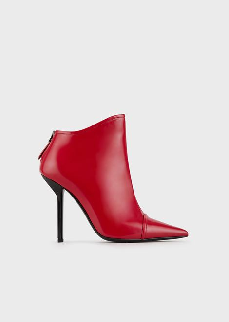Pointed-toe, high-heeled ankle boots in brushed leather