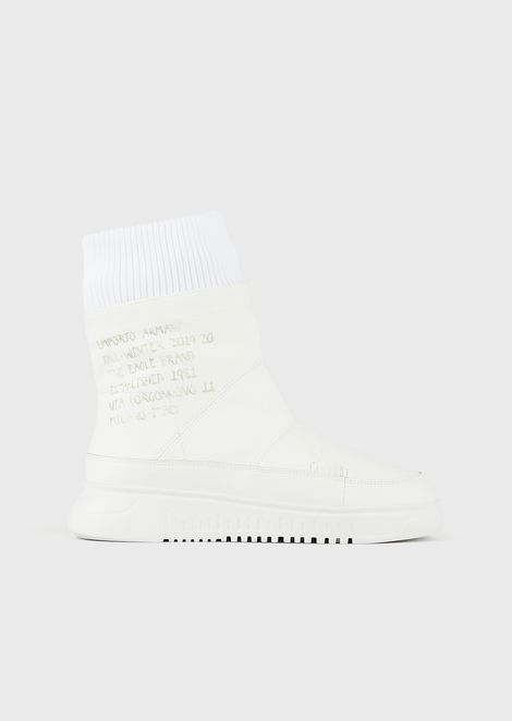 Ribbed twill ankle boots