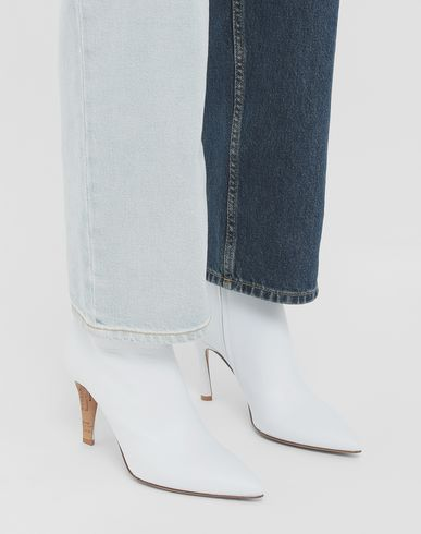 SHOES Pointed toe calfskin ankle boots White