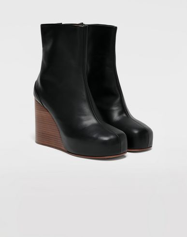 SHOES Calfskin wedge ankle boots Black