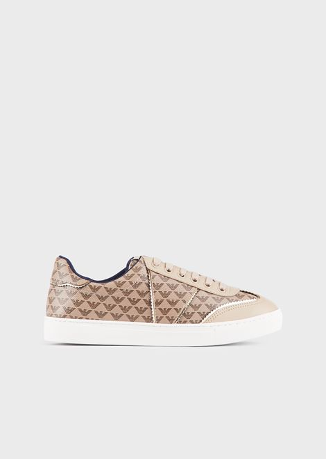 Monogram-print leather sneakers