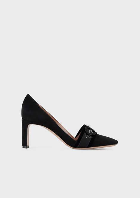 Suede court shoes with embossed strap