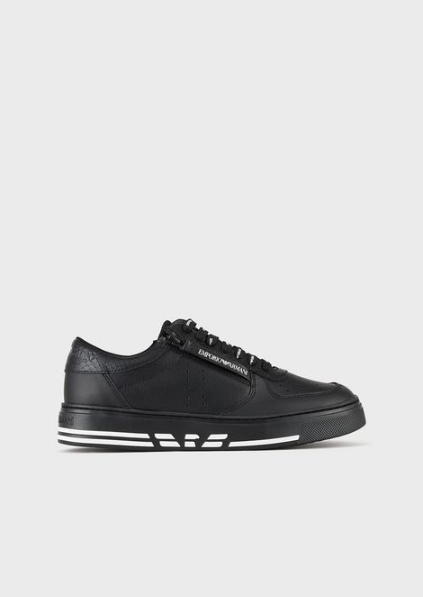 Zipped leather sneakers with embossed logo at the midsole