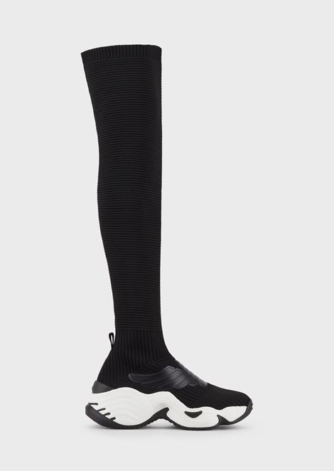 High-top sock sneakers in knit with maxi eagle