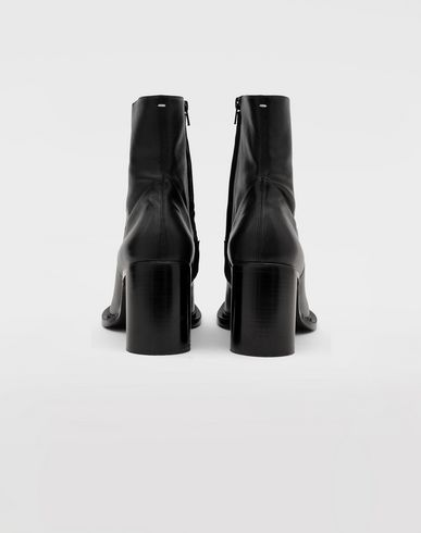 SHOES Leather ankle boots Black