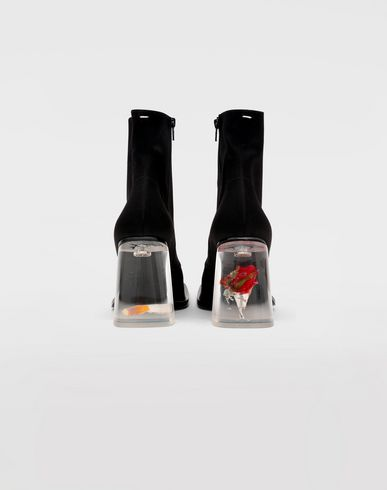 SHOES Cigarette and rose ankle boots Black