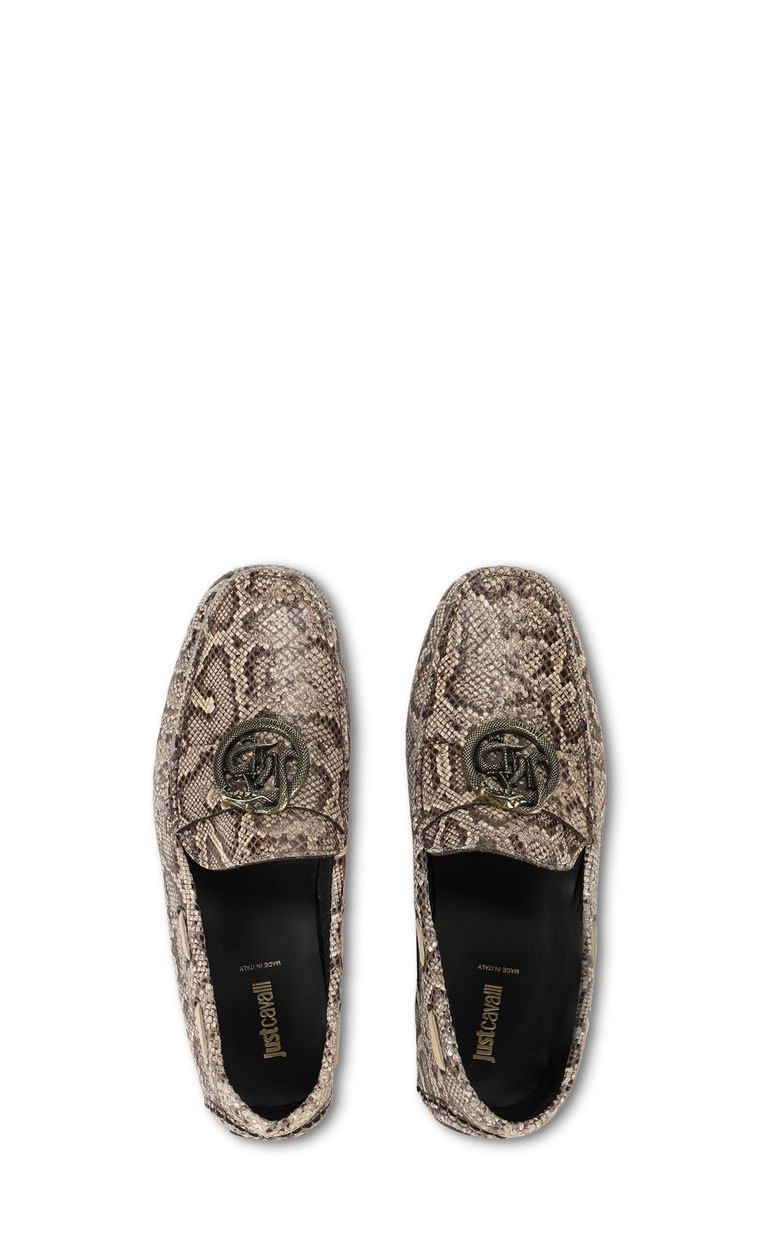 JUST CAVALLI Leather snakeskin-pattern loafer Moccassins Man d
