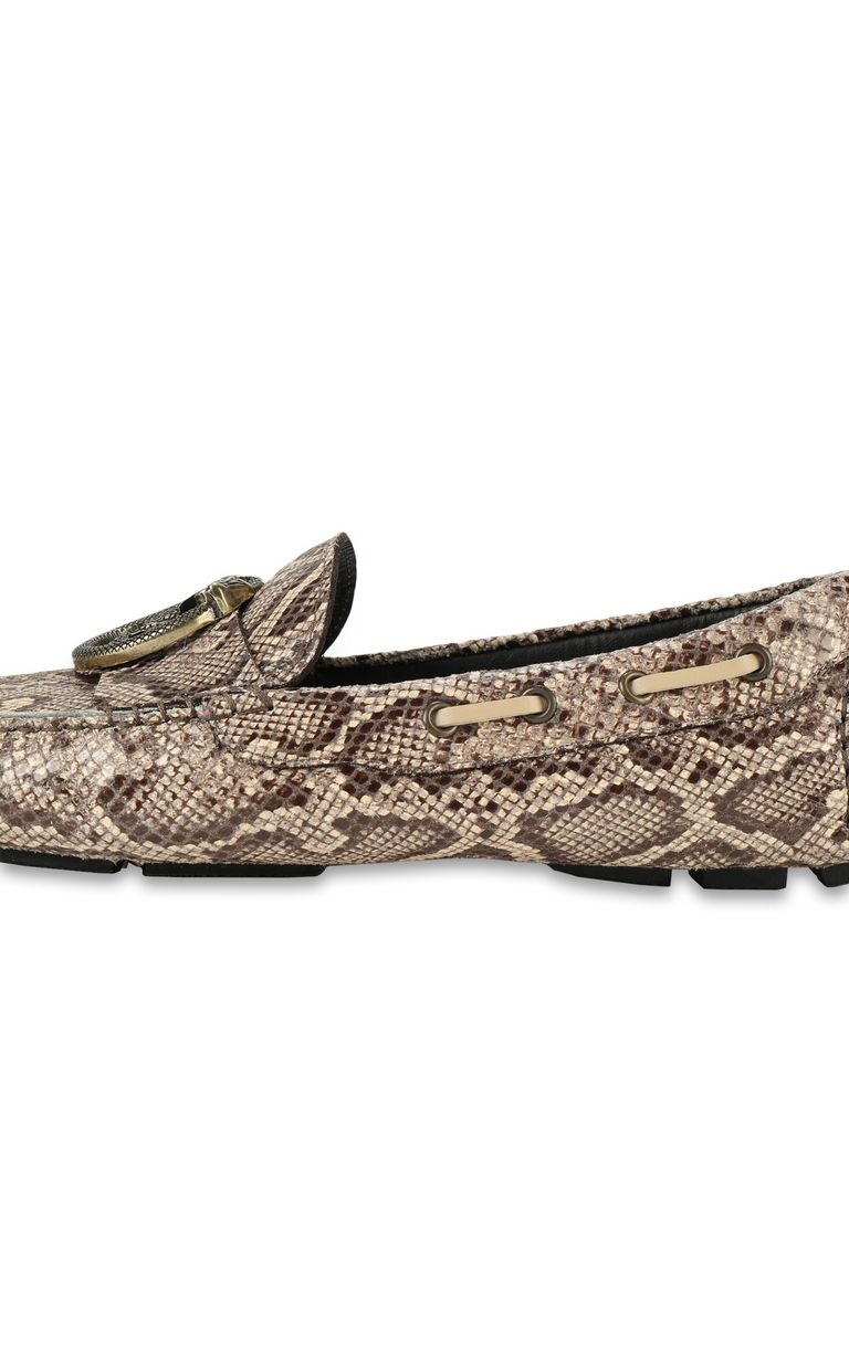 JUST CAVALLI Leather snakeskin-pattern loafer Moccassins Man e
