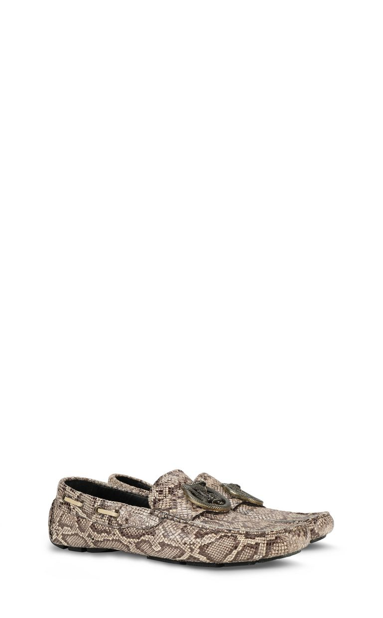JUST CAVALLI Leather snakeskin-pattern loafer Moccassins Man r