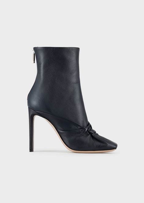 Calfskin leather ankle boots with knot