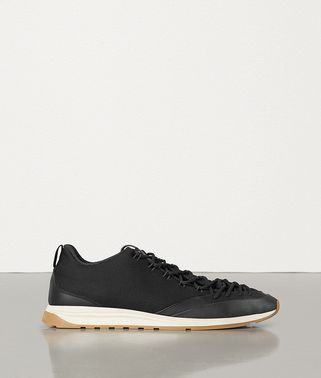 SNEAKERS IN CALF AND TECHNICAL FABRIC