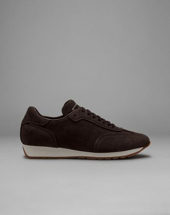 Sneakers Running Marroni in Suede